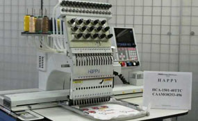 ID#1091 - Happy HGA-1501-44TTC Commercial Embroidery Machine.  Year 2004 Heads: 1 Needles: 15 - www.TheEmbroideryWarehouse.com