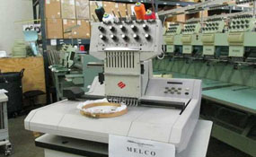 ID#1098 - Melco EMC10T Commercial Embroidery Machine.  Year 1997 Heads: 1 Needles: 10 - www.TheEmbroideryWarehouse.com
