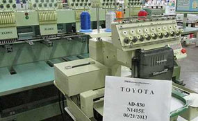 ID#1100 - Toyota 830 Commercial Embroidery Machine.  Year 1996 Heads: 1 Needles: 9 - www.TheEmbroideryWarehouse.com