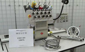 ID#1108 - Melco EMT10T Commercial Embroidery Machine.  Year 2000 Heads: 1 Needles: 10 - www.TheEmbroideryWarehouse.com