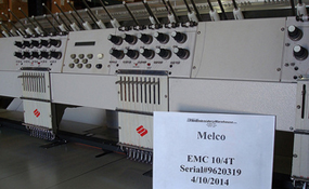 ID#1181 - Melco EMC10/4T Commercial Embroidery Machine.  Year 1997 Heads: 4 Needles: 10 - www.TheEmbroideryWarehouse.com