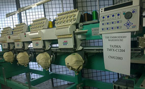 ID# 1198 1997 Tajima TMFX-C1204-S  Multi-head commercial embroidery machine http://www.TheEmbroideryWarehouse.com