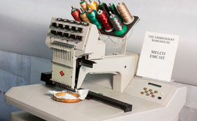 ID# 1211 1997 Melco EMC-10T  Single Head commercial embroidery machine http://www.TheEmbroideryWarehouse.com