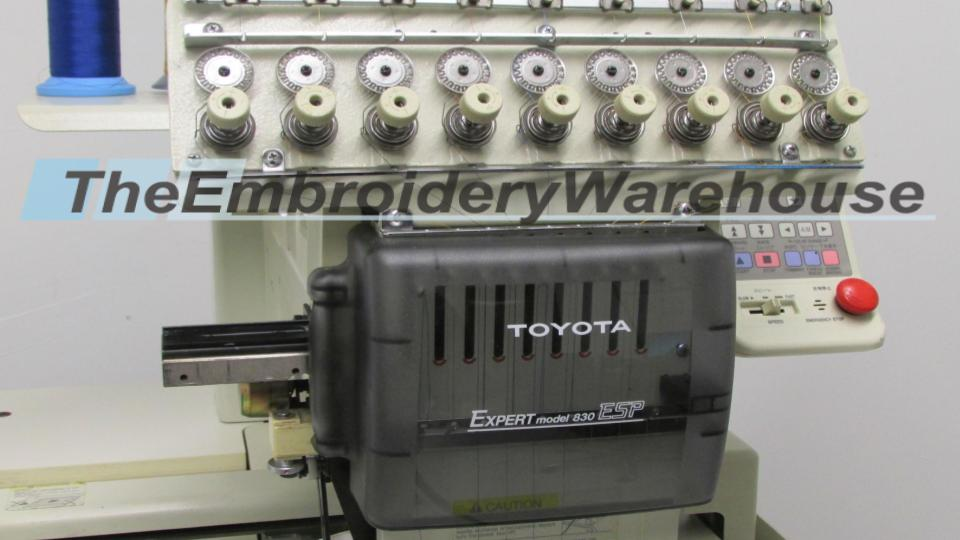 ID#1239 - Toyota 830 Commercial Embroidery Machine.  Year 1997 Heads: 1 Needles: 9 - www.TheEmbroideryWarehouse.com