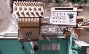 ID#1264 - Tajima TMEX-C1201 Commercial Embroidery Machine.  Year 1997 Heads: 1 Needles: 12 - www.TheEmbroideryWarehouse.com