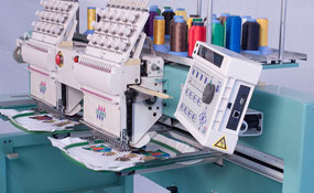 ID# 1291 2001 Tajima TMFX-1502  Multi-head commercial embroidery machine http://www.TheEmbroideryWarehouse.com