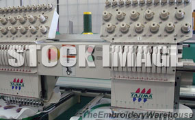 ID# 1302 1997 Tajima TMFX-II-C1202  Multi-head commercial embroidery machine http://www.TheEmbroideryWarehouse.com