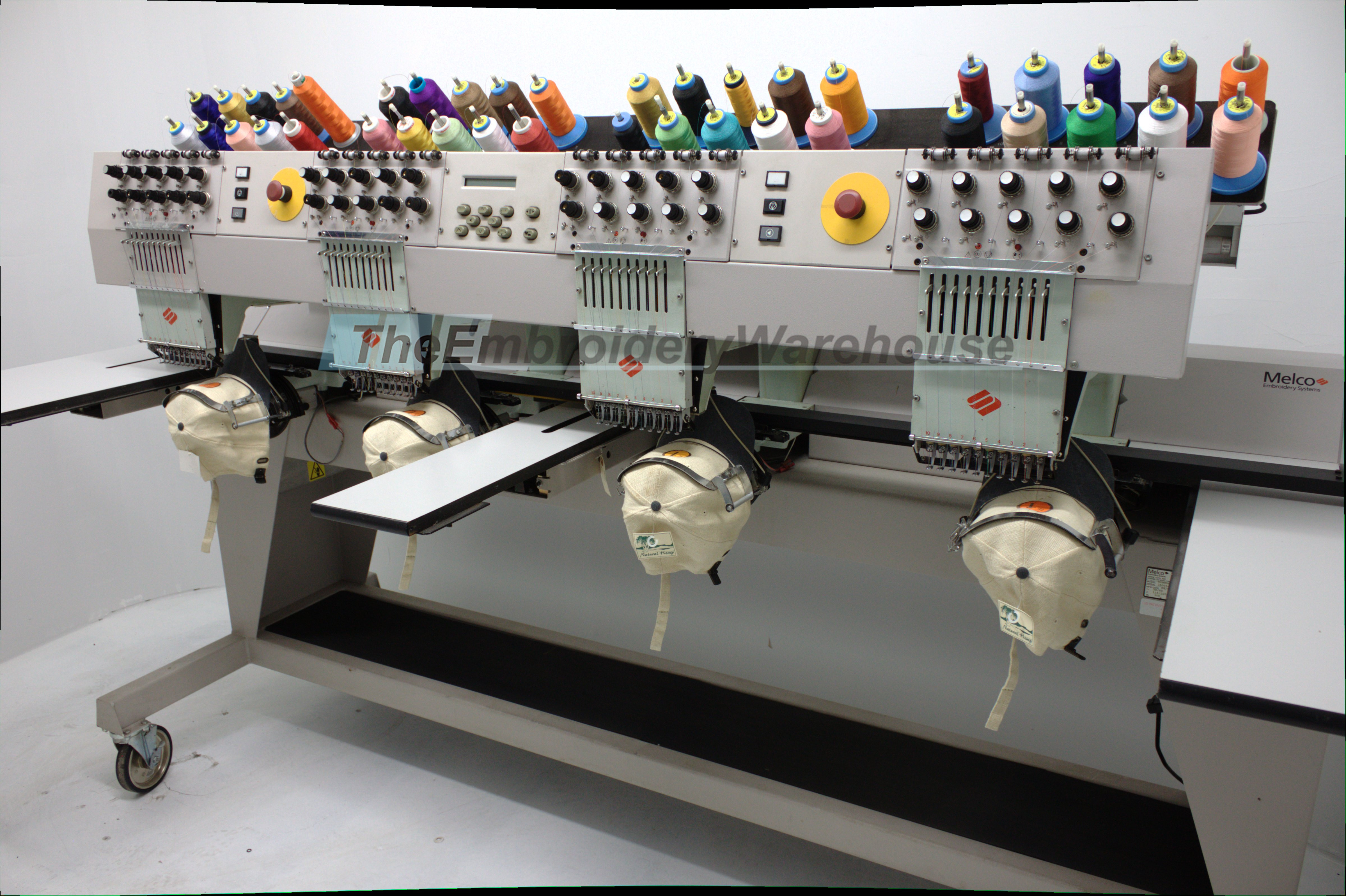 ID#1318 - Melco EMC 10/4T Commercial Embroidery Machine.  Year  Heads: 4 Needles: 10 - www.TheEmbroideryWarehouse.com