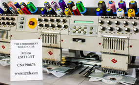 ID#1321 - Melco EMT 10/4T Commercial Embroidery Machine.  Year  Heads: 4 Needles: 10 - www.TheEmbroideryWarehouse.com