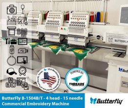 ButterFly B-1504B/T Commercial Embroidery Machine - 4 head - 15 needle - NEW (Year 2021)