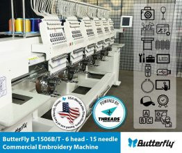 ButterFly B-1506B/T Commercial Embroidery Machine - 6 Head - 15 Needle NEW (Year 2020)