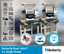 ButterFly Dual-1502B/T - DUAL (2) Head 15 Needle Commercial Embroidery Machines - NEW (Year 2020)