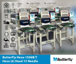 ButterFly Hexa-1506B/T - Hexa (6) Head 15 Needle Commercial Embroidery Machines - NEW (Year 2020)
