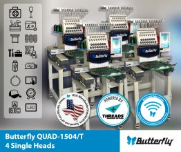 ButterFly Quad-1504B/T - QUAD (4) Head 15 Needle Commercial Embroidery Machines - NEW (Year 2020)