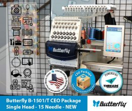 Butterfly B-1501/T CEO Package - Single Head - 15 Needle - NEW (Year 2021)