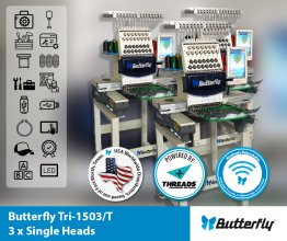 ButterFly Tri-1503/T - TRI (3) Head 15 Needle Commercial Embroidery Machines - NEW (Year 2021)