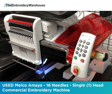 USED Melco Amaya - 16 Needles - Single (1) Head - Commercial Embroidery Machine