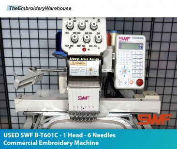 USED SWF B-T601C - 1 Head - 6 Needles Commercial Embroidery Machine