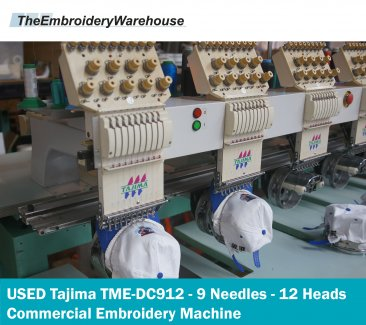 USED Tajima TME-DC912 - 9 Needles - 12 Heads - Commercial Embroidery Machine