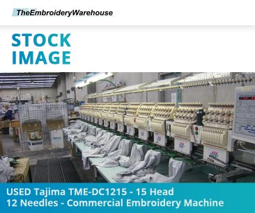 USED Tajima TME-DC1215 - 15 Head - 12 Needles - Commercial Embroidery Machine